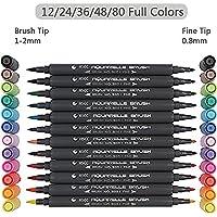 Set de rotuladores con doble punta de pincel - 12/24/36/48/80 colores - Acuarela Pluma Alta calidad, crea un efecto acuarela - Ideal para libros para colorear para adultos, manga, comic, caligrafía