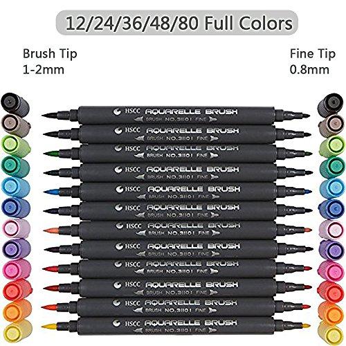 Foto de Set de rotuladores con doble punta de pincel - 12/24/36/48/80 colores - Acuarela Pluma Alta calidad, crea un efecto acuarela - Ideal para libros para colorear para adultos, manga, comic, caligrafía