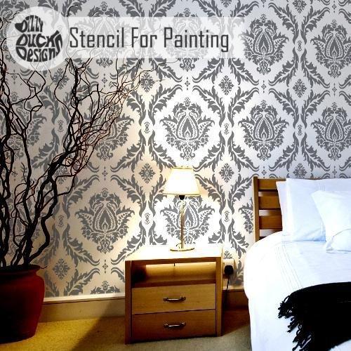 Wand Fußboden Schablones für Malerei - Wand Klein (Kleine Damast-schablonen)