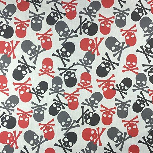 Mega Totenkopf weiß Halloween Poly Baumwolle gedruckt, Piraten Skulls, Kleid Stoff 114,3cm 114cm Breite-Meterware