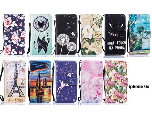 PU Cuir Coque Strass Case Etui Coque étui de portefeuille protection Coque Case Cas Cuir Swag Pour Apple iPhone 6 (4.7 pouces) +Bouchons de poussière (10DG) 6