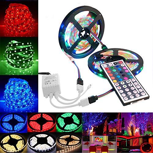 Madmoon 3528 SMD RGB 600 LED Stripes, 2X5m Stripe, Lichterkette, Band, Streifen, LED Leiste, LED Lichtleiste, LED Bänder, Lichterkette LED, 44 Schlüssel Fernbedienung, inkl. Farbwechsel (2X5M)