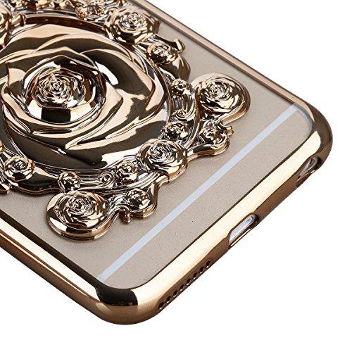 Ukayfe iPhone 6/6S plus 5.5 Copertura, Moda Confine di Placcatura Design di Bling Custodia Bumper Ultra Slim Morbido Soft TPU Gel Silicone Elegante Trasparente Flessibile Antiurto Cassa Protettivo Ski oro Tyrant 3#