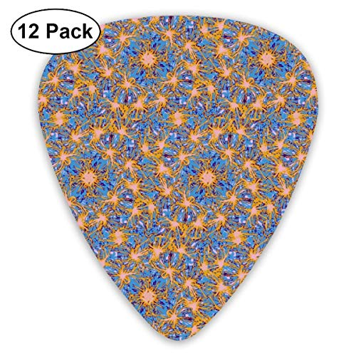 Blue And Orange Spinners Classic Celluloid Picks, 12-Pack, For Electric Guitar, Acoustic Guitar, Mandolin, And Bass - Orange Spinner