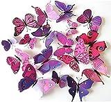 ElecMotive 24 Pezzi Farfalle 3d Farete Misura Grande Adesiv da Parete decorazioni a farfalla in plastica decorazione da parete (12 Viola + 12 Rosa)
