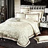 Man · life Europäischen Stil Baumwolle Satin Jacquard Bettwäsche Set Schlafzimmer Luxus Königin Größe Duvet Set 4 Stücke 1 Bettbezug, 1 Bettwäsche, 2 Kissenbezüge, E, 220X240Cm