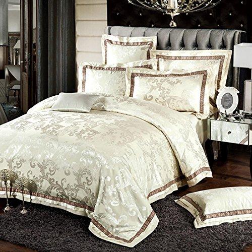 Man · life Europäischen Stil Baumwolle Satin Jacquard Bettwäsche Set Schlafzimmer Luxus Königin Größe Duvet Set 4 Stücke 1 Bettbezug, 1 Bettwäsche, 2 Kissenbezüge, E, 220X240Cm (Duvet-set Luxus-bettwäsche)