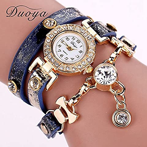 pigglyville (TM) 77Fashion Nuovo braccialetto orologi da polso di lusso in pelle Dress Orologi da Donna Fashion Catena Lunga Casual Orologio da polso xr1068, Blue