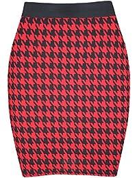 Damen Vichy-druck PVC Kunstleder PU Dehnbar Körperbetont Kurzer Mini  Schlauchrock Übergröße - Band Minirock 4451032234