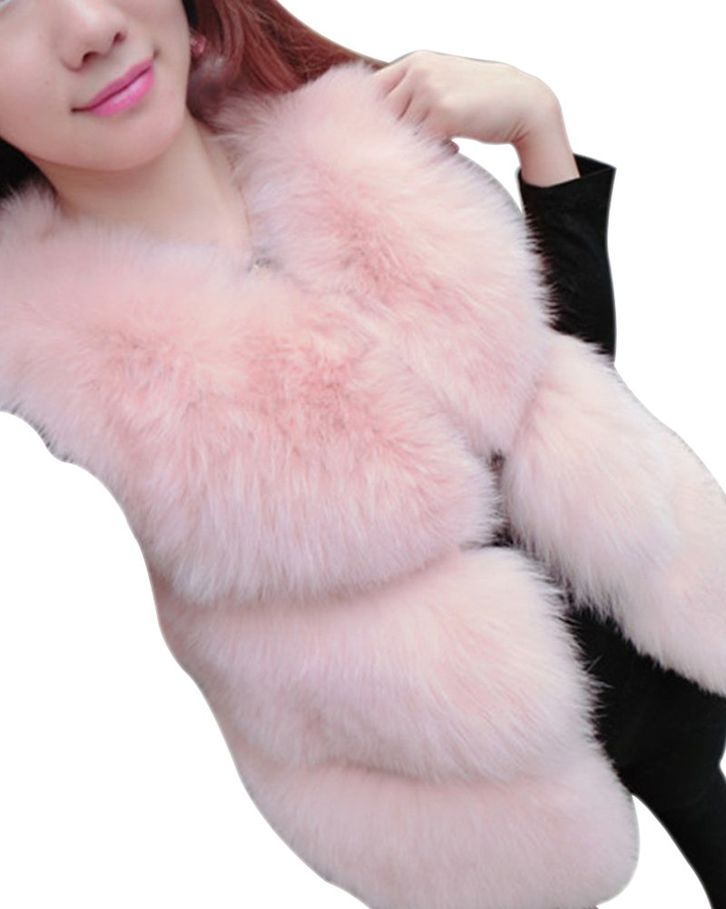 LaoZan Gilet di Pelliccia Ecologica per Festa Wedding Moda Elegante in Inverno - Pink - X Large