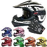 Leopard LEO-X17 *ECE 2205 Genehmigt* Kinder Motocross MX Helm Motorradhelm Crosshelm Kinderquad Off Road Enduro Sport + Handschuhe + Brille - Schwarz XL (55cm)