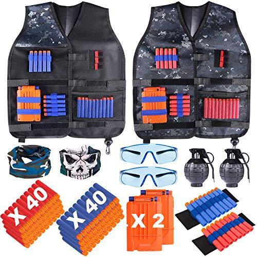 INNOCHEER Taktische Weste 2 Pack für Kinder, Taktische Weste Jacke Kit für Nerf Gun N-Streik Elite-Serie mit 80 er Darts, 2Brille, 2 schnell nachladen Clips, 2Maske, 2Armbände und 2 Granate Spielzeug