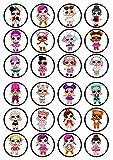 24 decorazioni a dischetti di wafer, pretagliate e commestibili per cupcakee torte, con i disegni delle bamboline Lol Surprise, Precut