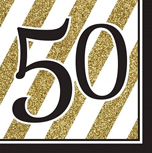 29 Teile Set zum 50. Geburtstag, Jubiläum oder Goldene Hochzeit – Party Deko in Schwarz & Gold - 2