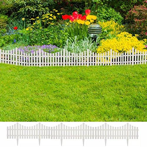 Tidyard 17er Set Gartenzaun 10 m Beeteinfassung Beetumrandung Palisade Garten Rasen Zierzaun Gartenzaun