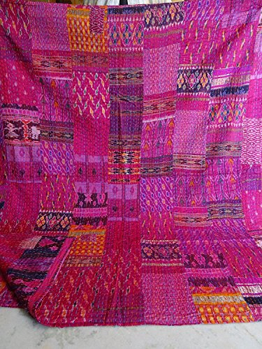 Indian Quilt -Vintage Quilt Old Patola Indian Silk Sari Kantha Quilted Patchwork Bedspread Bohemian Kantha Throws Silk Patola Quilt , Bed Cover ,Size 90″ X 108″ (Pink)