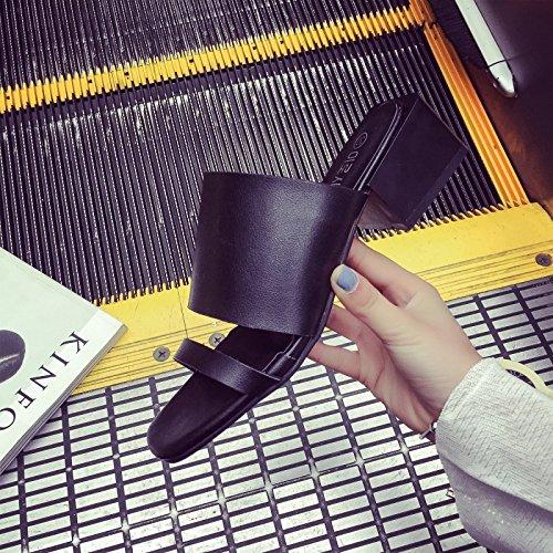 ZYUSHIZ Die Schuhe High-Heel ein Feld mit fetter Text mit kühlen Hausschuhe Partei inhaftiert Frau Sandalen Hausschuhe 36