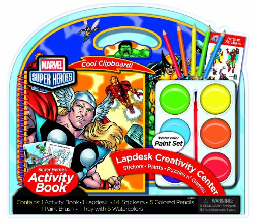 Bendon Marvel Super Heroes Activity Lapdesk with Jumbo Paints