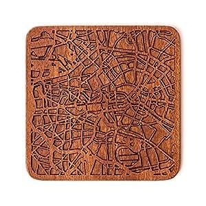 Berlin Stadtplan Untersetzer, One piece, Sapele Wooden Coaster with city map, Multiple city optional, Handmade