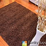 """FunkyBuys® Shaggy Rug Plain 5cm Thick Soft Pile Modern 100% Berclon Twist Fibre Non-Shed Polyproylene Heat Set - AVAILABLE IN 6 SIZES Best Quality On Amazon (Chocolate Brown, 66cm x 110cm (2ft 3"""" x 3ft 7""""))"""