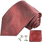 Paul Malone Krawatten Set 3tlg 100% Seide rot gepunktet (Überlange 165cm)