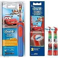 Braun Oral-B Stages Power AdvancePower Kids 900TX - Cepillo de dientes eléctrico para niños de más de 5 años (funciona a pilas, incluye 2 cabezales Stages Power de recambio), diseño de Cars