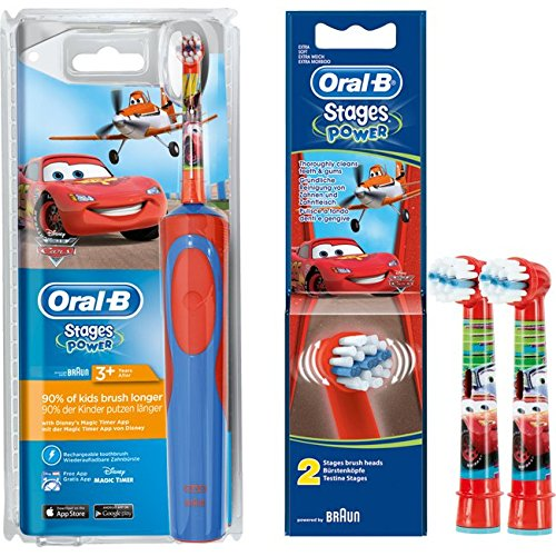 SPAR-SET: 1 Braun Oral-B Stages Power AdvancePower Kids 900TX elektrische Akku-Zahnbuerste Kinder 3 J. (D12.513.K) Disney CARS und 2er Stages Power Aufsteckbuersten CARS