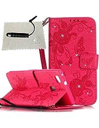 TOCASO Funda de Cuero Huawei P9 Lite Funda Piel para con Tapa Huawei P9 Lite [Garantía de por vida] Soporte Plegable Ranuras para Tarjetas y Billetes Estilo Libro Cierre Magnético Impresión de Flor Impresión de Amor PU Premium y TPU Funda Interna Mariposa Bear Animal--Rosa roja