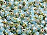 50pcs 6x4mm Cathedral Beads - Tschechische Glas facettiert Fire-Polished Perlen in Form von Olive, Opal Aqua Travertine Dark