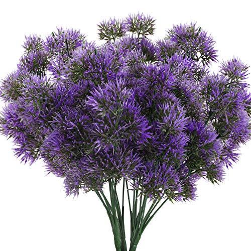 HUAESIN Künstliche Pflanze Draußen Kunstpflanze Lila Künstlich Sträucher Zedern Kunstblumen Plastikpflanzen Unechte Pflanzen für Balkon Hause Küche Garten Vase Topf Dekoration