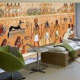 BZDHWWH Fototapete 3D Europäischen Retro Ägypten Pharao Und Gott Kunst Tapete Restaurant Sofa Hintergrund 3D Wallpaper Wandbild Wandmalerei,190cm (H) x 285cm (W)