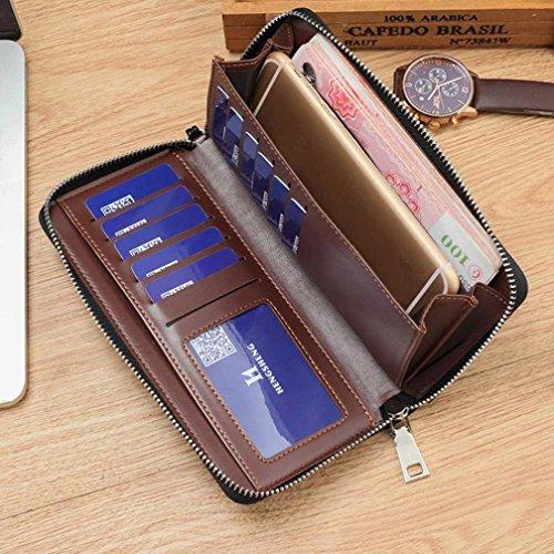 Reasoncool 2017 Donne Uomini Retro Zipper borsa della moneta del raccoglitore lungo i supporti di carta borsa (Blu) caffè