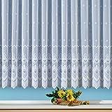Fertig-Store Jacquard mit Kräuselband, halbtransparent, Farbe weiß Größe HxB 160x450 cm