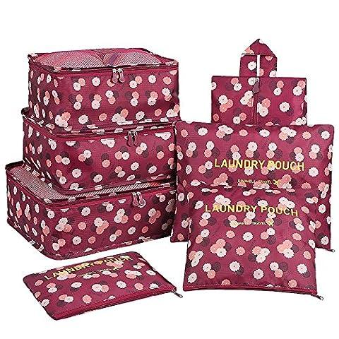 KALA 7 Pack Reisepackung Organizer Set, Reiseveranstalter Verpackungswürfel Gepäckaufbewahrungsbeutel Kompressionssystem - 3 Verpackungswürfel + 3 Beutel + 1 Premium Schuhe Tasche (Wein Blume)
