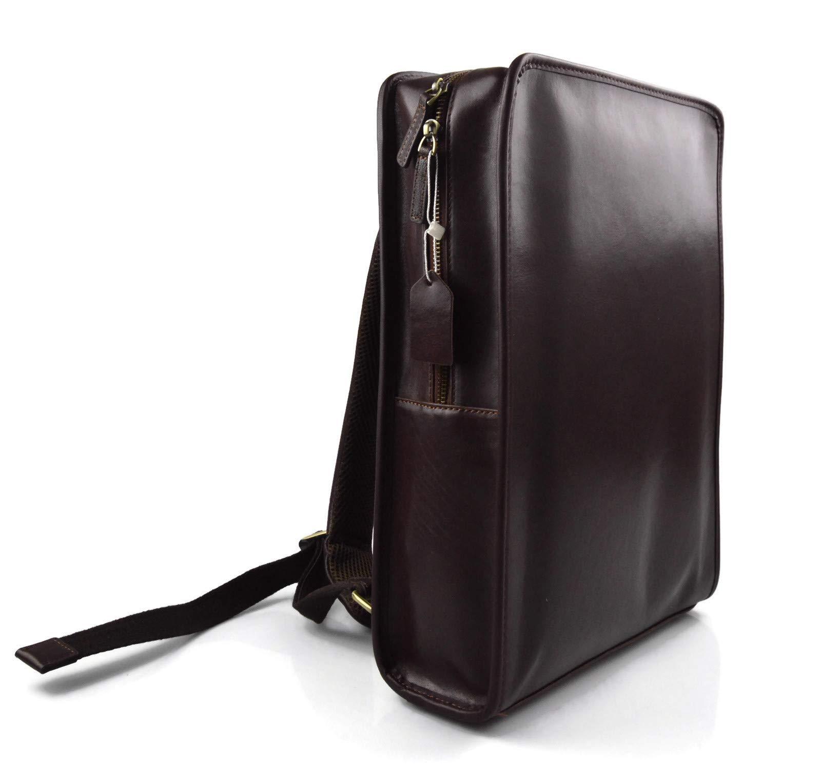 Mochila de cuero marron oscuro bolso de hombre piel mochila grande duro de piel bolso de espalda bolso bandolera de cuero mochila de piel