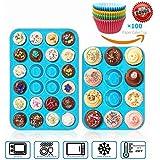 Joyolelf Silikon 24er Mini-Muffinform, & 12er große Backform, Bonus 100 Stück zufällig Papier Backform Cupcake,Nonstick Küche Backblech Formen für Kuchen, Pudding, Muffinform,blau.