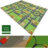 Tappeto da gioco casa pura®   Per bambini   Ecologico   Certificato REACH, privo di sostanze nocive   Lavabile   Antiscivolo   Città verde, 140X100 cm