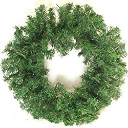 18 Inch Create Your Own Christmas Door Wreath, Plain Artificial Green Spruce Ring Door Xmas Decoration Craft Floral