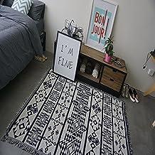 """SUN-50 """"X 60"""" Blanco y Negro patrón geométrico tejido de algodón Sofá Throw Sofá lanza mantas multifunción"""
