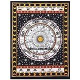 Indian Weiß Braun Astrologie Poster Größe 30x 40, indian Bohemian Mandala Tapisserie Poster, indische Astrologie Decor Wohnheim Poster, Hippie Wandbehang Poster, Picknick Beach Hippie Poster,