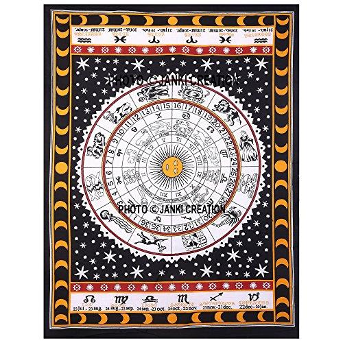 Indian Weiß Braun Astrologie Poster Größe 30x 40, indian Bohemian Mandala Tapisserie Poster, indische Astrologie Decor Wohnheim Poster, Hippie Wandbehang Poster, Picknick Beach Hippie Poster, (Hippie Decke Werfen)