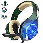 Cascos para PS4 Xbox One PC Nintendo Switch, Beexcellent GM-1【Camuflaje】con Sonido Envolvente y la Disfruta de Lujo del...