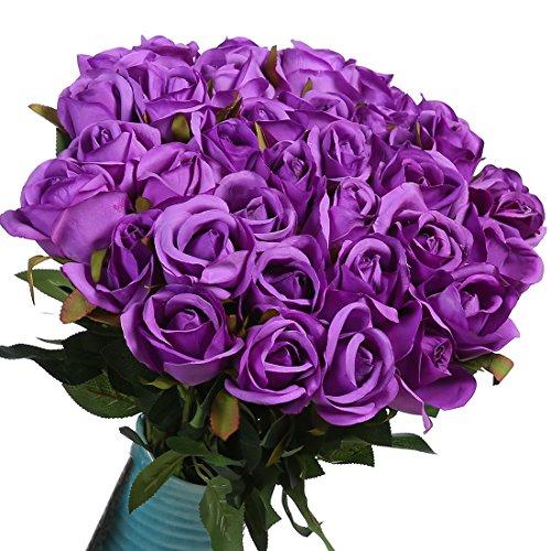 (10 Stücke Künstliche Silk Rosen für die Vase, Gefälschte Rose Blumen für Hochzeit Home Birthday Party Garten Grab Dekorationen (Lila))