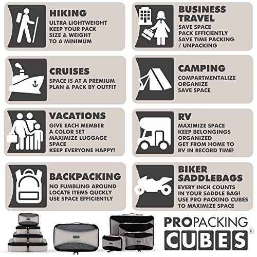 PRO Packing Cubes | Packwürfel im 4-teiligen Sparset | Taschen mit 30 % Platzeinsparung | Ultraleichte Gepäckverstauer | Ideal für Seesäcke, Handgepäck und Rucksäcke (Schwarz) Silver Grey