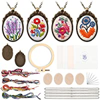GROBRO7 4Pcs Embroidery Necklace Kit Set Floral Embroidered Cross Stitching Sewing DIY Art Craft kit Pendants Accessories Beginner Friendly Tools Water Soluble Ink Cotton Cloths Threads Needles