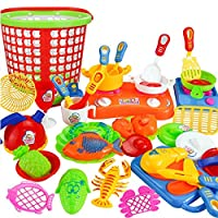 Keepwin 35pcs Pretend Food and Dishes Playset for Kids - Includes Play Kitchen Utensils, Play Food, Play Dishes, Pots and Pans, Basket and Much More (Multicolor /A)