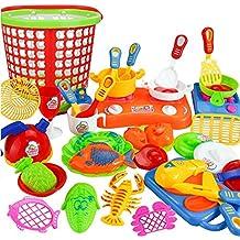 Giocattolo Di Formazione,WINWINTOM 35Pcs Plastica Bambini Bambini Utensili Da Cucina Cottura Degli Alimenti Finta Play (Strumenti Di Cucina Caso Del Pacchetto)