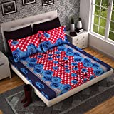 #6: Dream Weaverz Queen Size Blue Rose Printed Bedsheet with 2 Pillow Covers - Designer Cotton Set for Elegant Bedding - Premium Quality Mattress Sheet (Red)