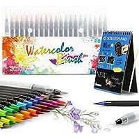 Rotuladores Pincel MOMKEY, Punta de Pincel Real, 20 Colores + 1 pincel +12 páginas diy art pad para Dibujar, Caligrafía, pintura ect... niños o estudiantes