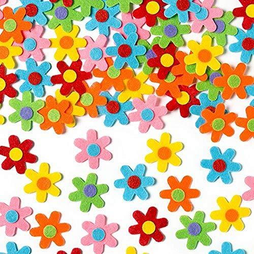 umstoff Sticker Selbstklebend,Glitzernde Moosgummi-Aufkleber,Glitzernde Moosgummi,Für Kids Craft Verzierungen zum Dekorieren ,Mischfarben (Blumen-7cm) ()